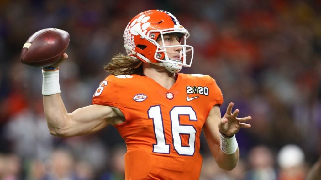 2021 NFL Draft prospect Trevor Lawrence(QB) in action as a Clemson player.
