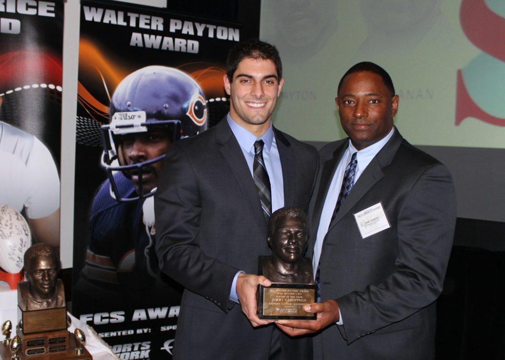 Jimmy Garoppolo winning the NFL Walter Payton Award.