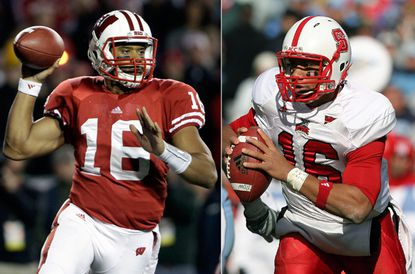 Russell Wilson as a Wisconsin Badgers(left) and once a NC State(right) player.